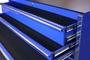 blue toolbox drawers feature full-extension ball bearing glides on toolbox drawers