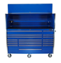 "blue 72"" x 30 tool cabinet and top hutch"