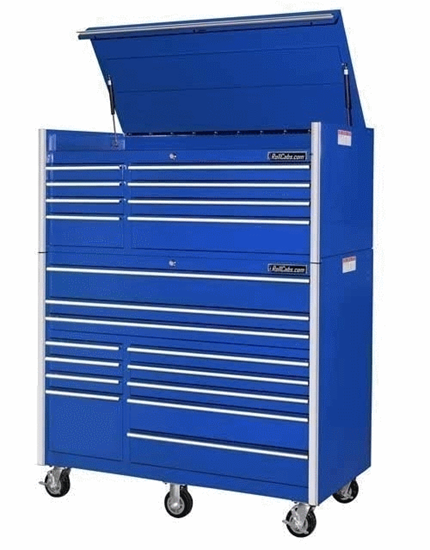 "rollcabs.com CRX552512RC 55"" 12 drawer blue rollcab + chest"