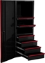 Side Tool Cabinet Locker Black with Red